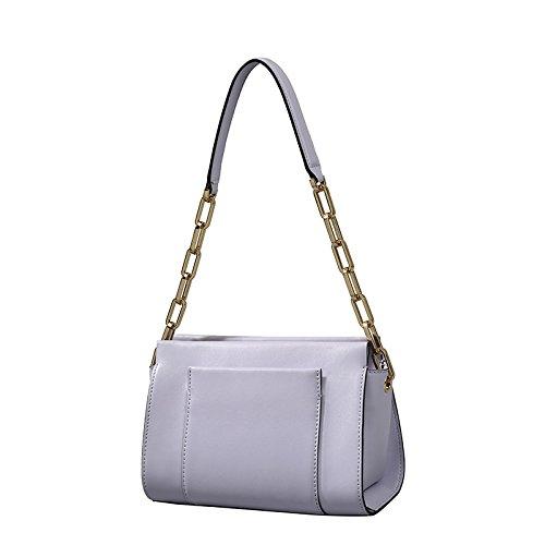 SZJZ Unica borsa a tracolla Borsa donna in pelle vitello morbida piccola catena portatile semplice moda bag,Beige Purple
