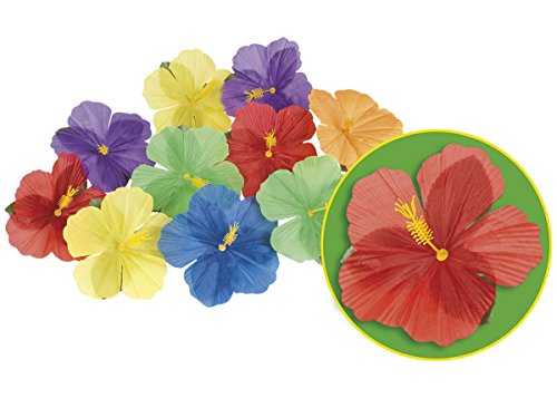 Alsino-Hibisco-52513-Hawaii-Flores-Carnaval-Deko-Caribe-Beach-Party-Set-24-unidades