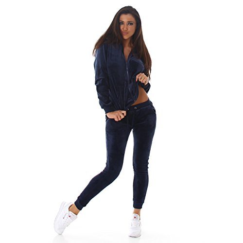 Voyelles Damen Jogginganzug, ein Freizeitanzug mit eleganten Details, in vielen Größen und Farben erhältlich S M L Marine Blau