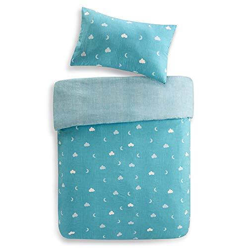 Renforcé Kinderbettwäsche Set 2-Teilig Eule mit Blumen & Wolken Bettbezug Kopfkissenbezug 100% Baumwolle Jungen Einzelbett Blau, 135x200cm+50x75cm