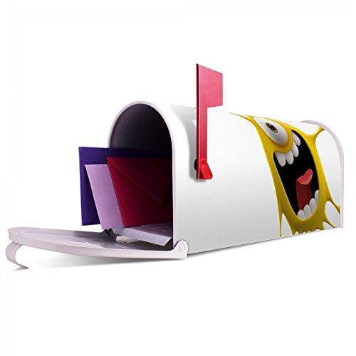 BANJADO US Mailbox | Amerikanischer Briefkasten 51x22x17cm | Letterbox Stahl weiß | mit Motiv Karl Splash, Briefkasten:mit schwarzem Standfuß - 5