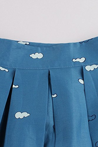 Damen Sommer A-linie Röcke Vintage Faltenrock Tellerrock Knielang in 6 Farben MisShow Blau