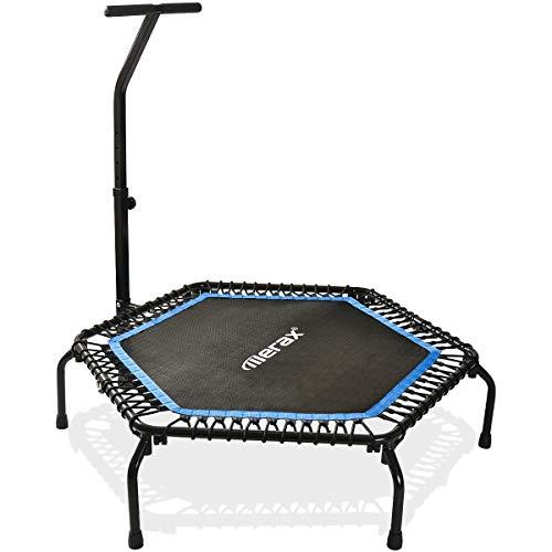Merax Mini Trampoline Fitness Indoor, TÜV-Geprüft, 5 Fach Höhenverstellbarem Haltegriff & Randabdeckung, Klappbare Gymnastiktrampolin für jumpsport bis 100kg (Blau)