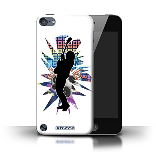 Custodia/Cover Rigide/Prottetiva STUFF4 stampata con il disegno Rock star posa per Apple iPod Touch 5 - Hendrix bianco