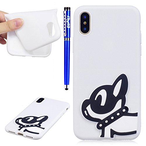 EUWLY Silicone Custodia per iPhone X, 3D Creativo Cute Cartoon Animale Solid Modello TPU Cover Case per iPhone X Ultra Sottile Morbido Silicone TPU Cover Copertura Diverso Colorato Style Posteriore Pr Cucciolo