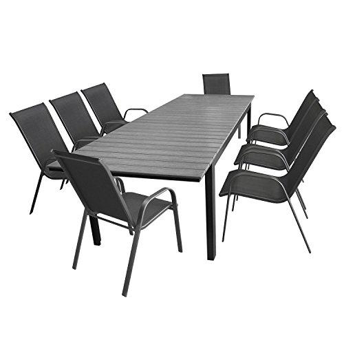 Multistore 2002 9tlg. Gartengarnitur Aluminium Polywood Ausziehtisch Gartentisch 280/220x95cm + 8X Stapelstuhl Textilenbespannung - Sitzgarnitur Sitzgruppe Gartenmöbel