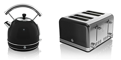 NEW Swan Kitchen Appliance Retro Set – BLACK Digital 20L Microwave, BLACK 1.7 Litre Dome Kettle & BLACK Retro Stylish 4 Slice Toaster Set
