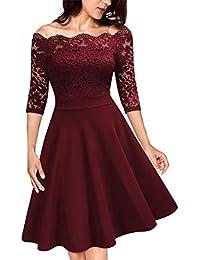KOJOOIN Damen Spitzenkleid 1950er Abendkleider Vintage Brautjungfernkleider für Hochzeit Kurzes A-Linie Cocktailkleid (Gr.34-48)(Verpackung MEHRWEG)