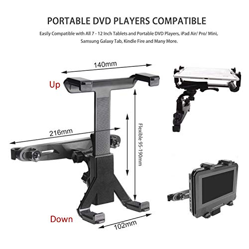POMILE Auto Kopfstützenhalterung für DVD Player, Verstellbare Autositz Kopfstütze Halterung für tragbare DVD-Player, Apple iPad Air / Mini, Samsung Galaxy Tab, Kindle Fire, 7