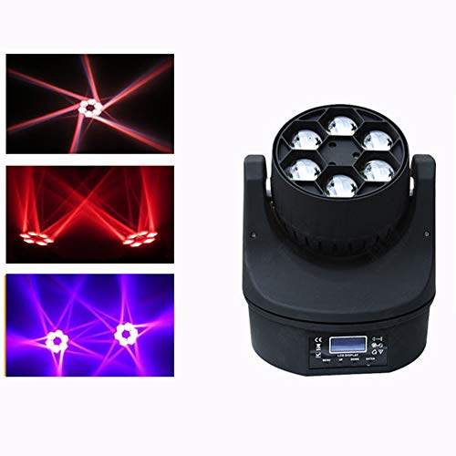 Ds-wtsdray Moving Head Licht 6 * 10W RGBW DMX-512,Disco Licht,Party Lichts 10/17 Kanäle/8 Farben+4 Muster für Party,Club,DJ-Show (Moving Head Nebelmaschine)