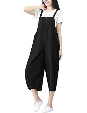 FeelinGirl Mujer Cómodo Casual Mono Liso Pantalón Suelto Talla Grande