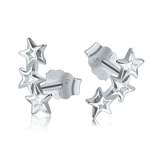 Dothnix Stern Lang Silber 925 Ohrringe Damen Ohrschmuck Valentinstag Geschenk für Frauen Freundin Mütter (Valentinstag Ohrringe)