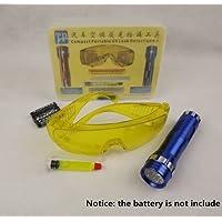 Rabusion Kit de detección de Gas líquido C con luz LED y Gafas de Seguridad UV con Detector de Fugas