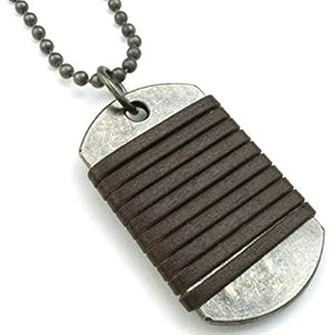 Daesar Joyería Collar Colgante Acero Mujer Hombre, Placa Nombre Militar Collar con Cuero Oscuro Cable Retro Vintage Bola Cadena, Tamaño 35x58mm