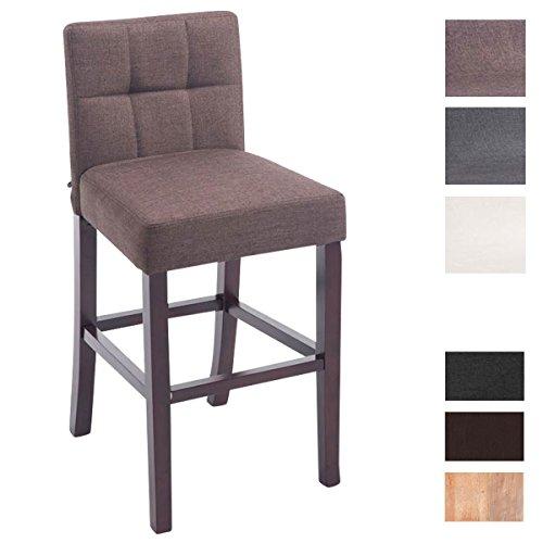 CLP Holz Barhocker RAPHAEL Stoff-Bezug, Bar-Stuhl mit Lehne, Sitzhöhe 66 cm braun, Gestellfarbe: cappuccino