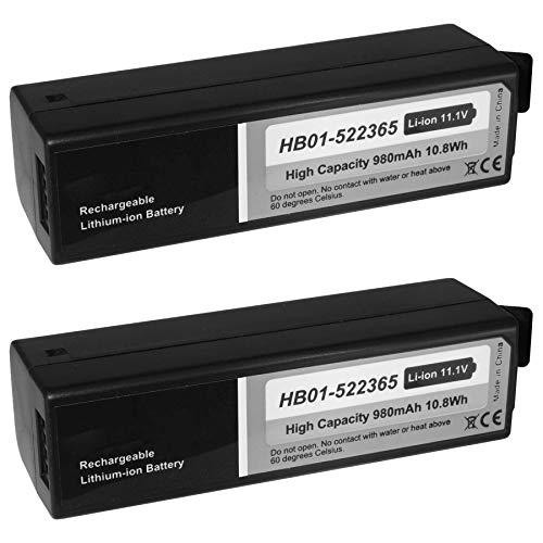 2X Akku kompatibel zu HB01-522365 für DJI Osmo (Pro, Raw, Plus, Mobile) / Zenmuse X3, X5(R) [Li-Ion / 980 mAh / 11.1V]
