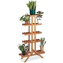 Relaxdays–Soporte para flores con 5niveles, madera, interior flor accesorio de, multiestantes, HxWxD: ca 142,5x 83x 28,5cm), color marrón claro