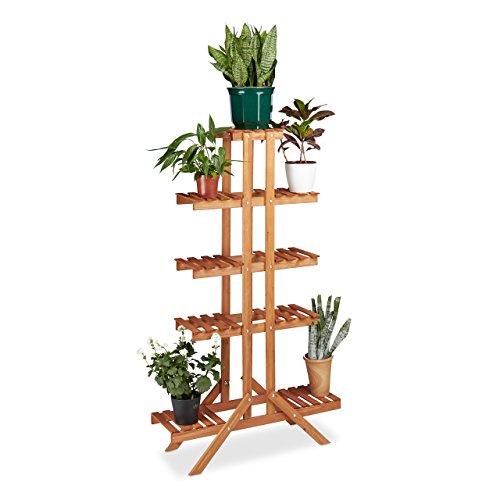 Relaxdays supporto per fiori con 5ripiani, in legno, per interni fiore rack, multi-shelf, axlxp: ca 142.5x 83x 28.5cm, marrone chiaro