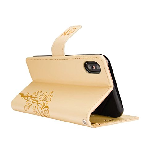 Double Side Embossing Rose Blume Horizontale Flip Stand Pouch Wallet Case mit Lanyard für iPhone X ( Color : White ) Gold