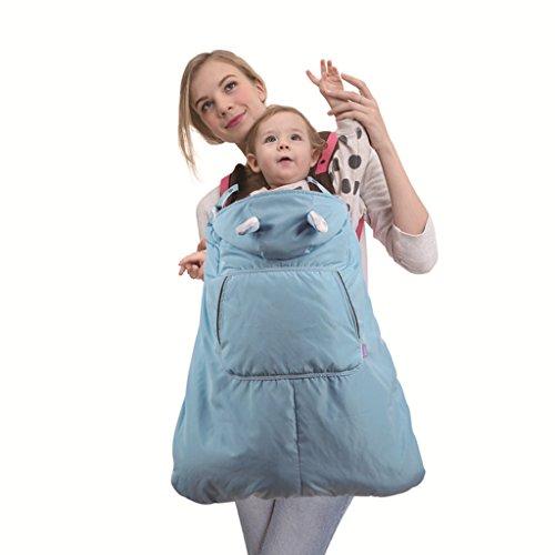 Funda para mochila portabebé A prueba de viento Impermeable Encapuchado Invierno cubierta del portabebés,Azul
