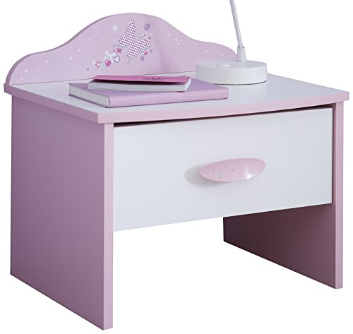 Mesilla, mesilla de noche, mesa auxiliar, cómoda papillónobject rosa-blanco 1 cajón