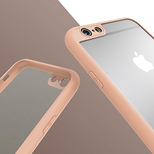 Urcover® Apple iPhone 6 / 6s Schutzhülle transparent mit Rahmen in Schwarz Back-Case Cover Smartphone Schale Rosa
