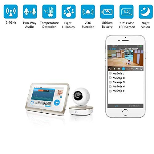 XINCH Baby-Monitor Wireless Network Remote Camera Expression Schlaf Quality Monitoring Kompatibel mit Android/Ios 270 ° 3D-drehendes Objektiv -