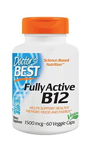 Doctor's Best | Mejor B12 Totalmente Activa | 1500 mcg | 60 cápsulas vegetales | sin soya