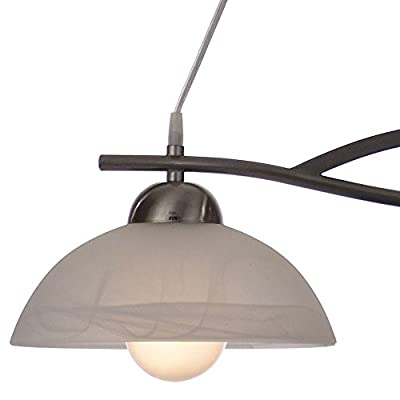19 watt LED ceiling pendant lamp hanging lamp Alabaster Glass white steel dining table light produced by etc-shop - quick delivery from UK.
