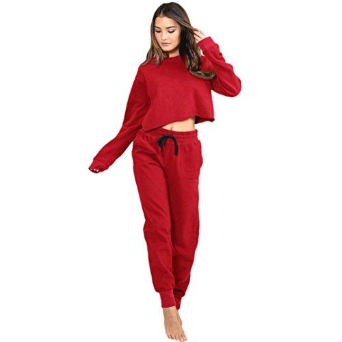 Damen Bekleidungset FORH Ziemlich Einfarbig Sweatshirt Casual langarmshirt Rundhals top mit Freizeit Hosen Slim fit Sweatpants yoga Jogging langpants Frei Kollokation (Hose XL, Rot)