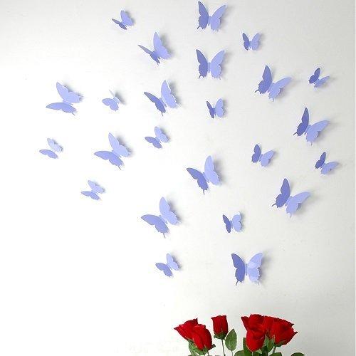 Ambiance-Live 3D-Aufkleber-Set, 12Sticker Schmetterlinge, Farbe Lavendel Lila (Lavendel Aufkleber Große)