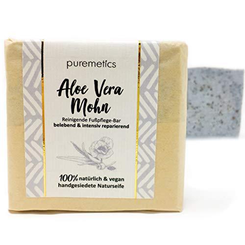 puremetics Fusspflege-Bar Aloe Vera Mohn | 100% vegane Naturkosmetik | Handgesiedete Naturseife | belebende & intensiv reparierende Seife | beanspruchte & trockene Füsse -