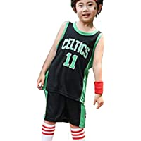 Camiseta de Baloncesto para niños, Camiseta Azul de Boston Celtics # 11 para niños y niñas, Camiseta de Chaleco Deportivo + pantalón Corto, Camiseta de Secado rápido-Black-XXL