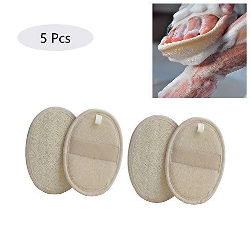 5er Pack Luffaschwämme Rückenschrubber Rücken Gurt Luffa Handschuhe und Dusche, Loofah pad mit natürlichen Stoffen für Peeling, Massage und Körperpflege, Naturprodukt aus 100% Luffa-Faser