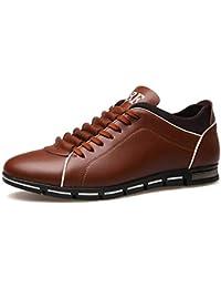 bfacf61655 XI-GUA Herren Freizeitschuhe aus Leder Spitze Sportschuhe Frühling und  Herbst Flache atmungsaktive Schuhe