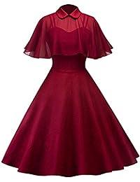 Lenfesh Años 50 Vintage Rockabilly Vestido Sin Mangas Mujer Vestido Corto para Noche Fiesta Playa Vestido