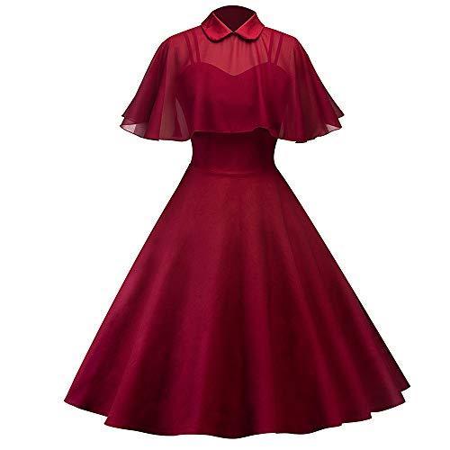 MAYOGO Damen Spitzen Bolero Kleid Frauen Ruffled Cape Wrape Schalkragen Solid Cocktailkleid Abendkleid Partykleid Rockabilly ()