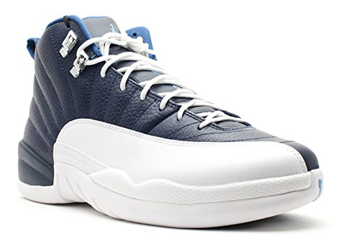 Mens Air Jordan 12 Retro-Basketball-Schuhe Obsidian / Universität blau / wei� / Französisch Blau (Obsidian-basketball-schuh)