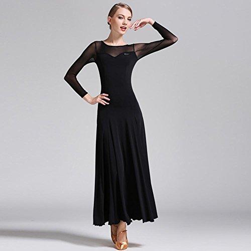Kostüm Contemporary Schwarz Dance - Wanson Standard Tanz Kleider Für Frauen Wettbewerb Waltz Tanzkleidung Mesh Spleißen Performance Kostüm