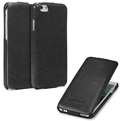 Urcover® Apple iPhone 6 / 6s Schutz-Hülle   Flip Cover Rot   Fashion Klapp Tasche   Handy Smartphone Zubehör Case für Apple iPhone 6s / 6 Schwarz