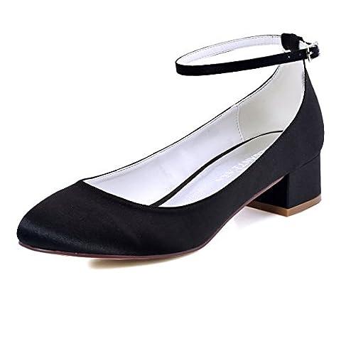 ElegantPark FC1613 Women Closed Toe Chunky Heel Ankle Strap Pumps