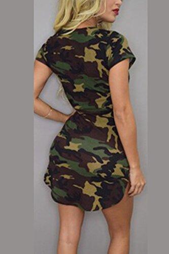 Frauen sind kurze ärmel clubwear tarnung mini bodycon kleid Green