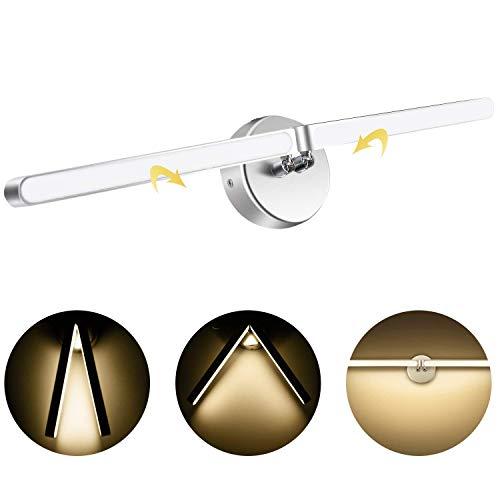 AGPTEK Aplique de Pared Lámpara LED 9W(3000K), Iluminación Luz Moderna pura Aluminio para Dormitorio, Sala de Estar, Cocina, Baño, Color del Cuerpo Plateado, Blanco Cálido