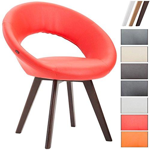 Clp sedia visitatore beck con schienale - sedia pranzo in similpelle i poltroncina imbottita con telaio in legno i sedia design moderno rosso colore base: noce