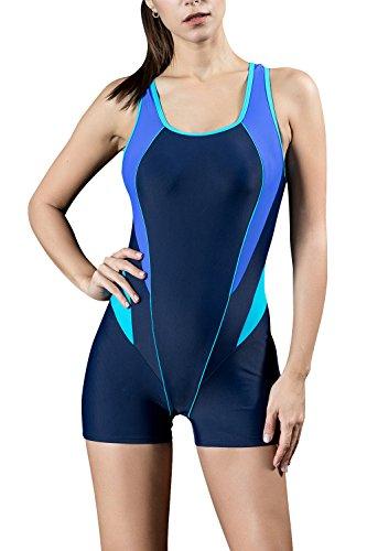 06d450da302bf Dolamen Women's One Piece Boyleg Sports Swimming Costumes Swimwear