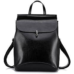Realer Bolsos de cuero genuino mochilas para mujer bolso de hombro Negro