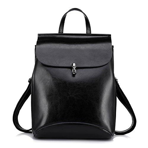 Realer Echtes Leder Rucksäcke Geldbörsen für Frauen Schultertasche Schwarz (Leder-frauen-handtaschen)