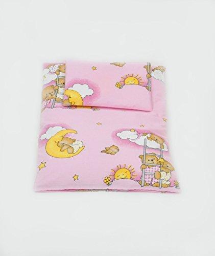 Velinda Bettwäscheset mit Decke 70x50 Bettzeug für Kinderwagen Stubenwagen Babywiege (Muster: Teddy auf Wolke_Rosa)