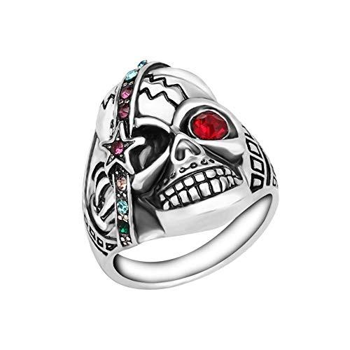 ANRUX - Anillo de Acero Inoxidable para Mujer, diseño de Calavera gótica, Color Rojo