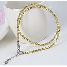 2 x oro collar 47 cm dorado - collar cadena Textil correa de tela collar cuello joyas para mujer